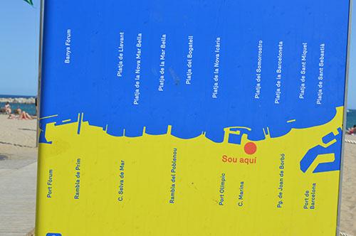 Mappa Spiagge Barceloneta