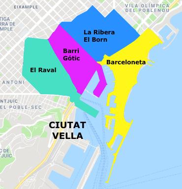 Mappa della Ciutat Vella, Barcellona