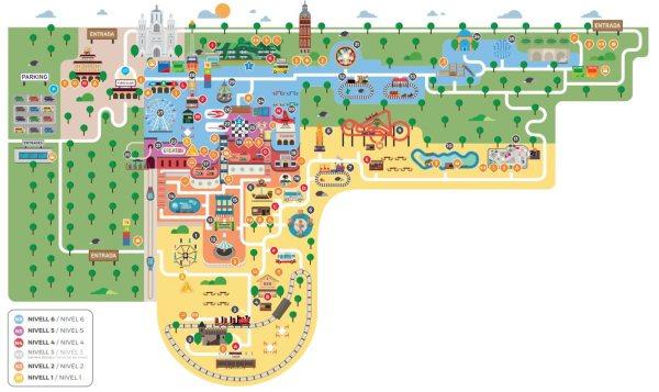 La mappa del Parco Tibidabo