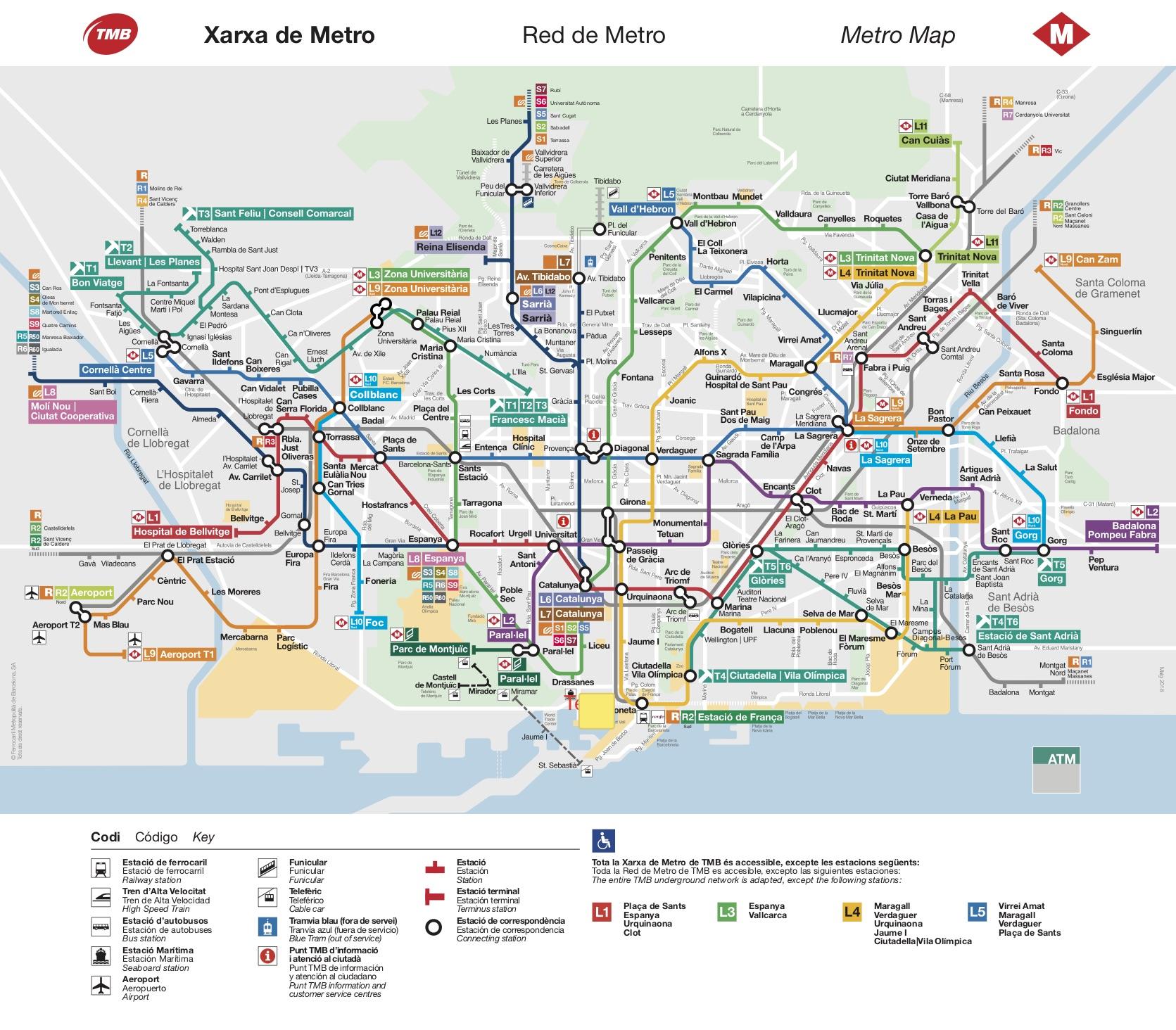 Cartina Barcellona Dettagliata.Mappa Metro Barcellona Scarica Uslhgj Candobooking Com